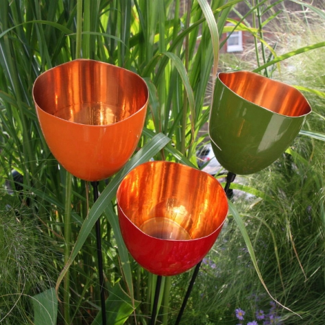 Three Coloured Copper Tulip Garden Sculptures, Not on the High Street